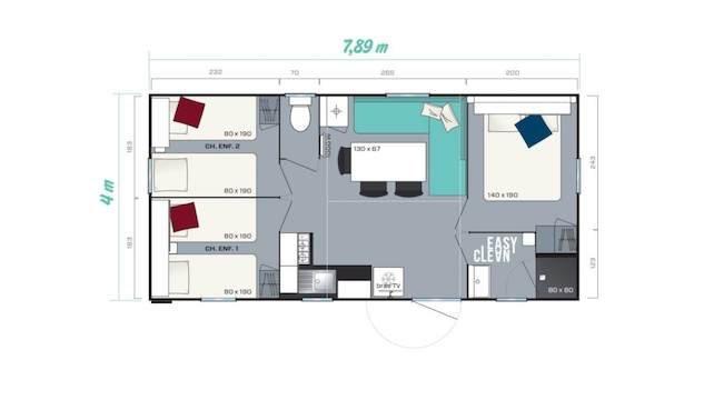 plan mobil home 3 chambres verdon