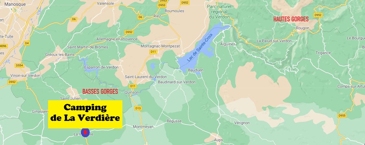 carte gorges du Verdon